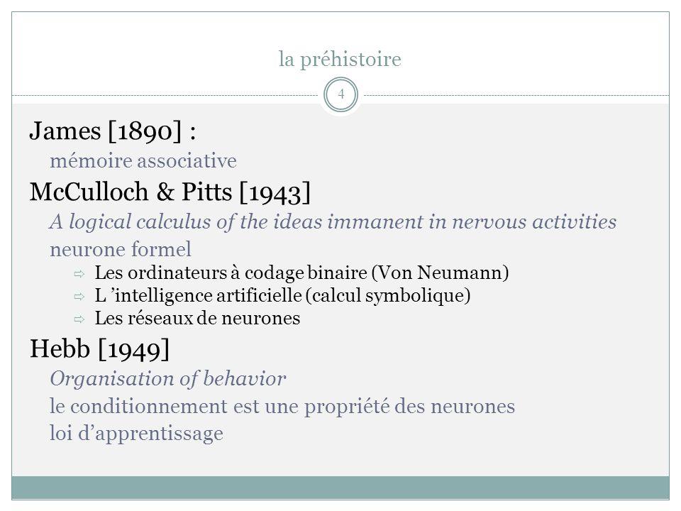la préhistoire James [1890] : McCulloch & Pitts [1943] Hebb [1949]